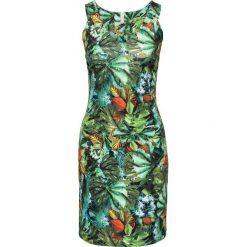 Sukienka z tropikalnym nadrukiem bonprix zielono-brązowo-biały. Zielone sukienki na komunię marki bonprix, z nadrukiem, z dekoltem w serek, na ramiączkach, dopasowane. Za 54,99 zł.