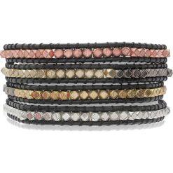 Bransoletki damskie na nogę: Skórzana bransoletka w kolorze czarno-srebrno-złoto-miedzianym