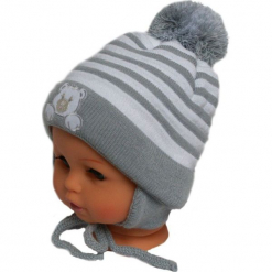 Czapka niemowlęca z szalikiem CZ+S 010B. Szare czapeczki niemowlęce Proman. Za 36,70 zł.
