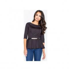 Bluzka M417 Czarny. Czarne bluzki wizytowe marki FIGL, m, z jeansu, eleganckie, z dekoltem w łódkę. Za 109,00 zł.