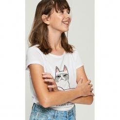 Purrrfekcyjny t-shirt - Biały. Białe t-shirty damskie Sinsay, l. Za 19,99 zł.