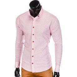 KOSZULA MĘSKA Z DŁUGIM RĘKAWEM K392 - JASNOCZERWONA. Czerwone koszule męskie na spinki Ombre Clothing, m, z kontrastowym kołnierzykiem, z długim rękawem. Za 59,00 zł.