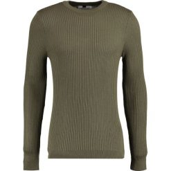 Swetry klasyczne męskie: Topman MUSCLE FIT Sweter khaki/olive