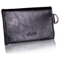 a50e5f64978a8 Cienki skórzany męski portfel wizytownik SOLIER CZARNY. Czarne portfele  męskie Solier