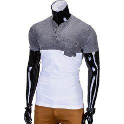T-shirty męskie: T-SHIRT MĘSKI BEZ NADRUKU S662 – GRAFITOWY