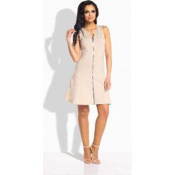 Sukienki: Beżowa Sukienka Rozkloszowana bez Rękawów z Suwakiem