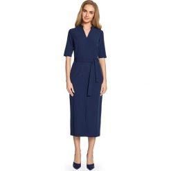 CIRA Sukienka midi z rozcięciem z przodu - granatowa. Niebieskie sukienki hiszpanki Stylove, midi, proste. Za 159,90 zł.