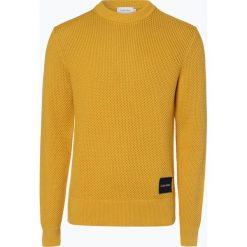 Calvin Klein - Sweter męski, żółty. Pomarańczowe swetry klasyczne męskie marki Calvin Klein, l, z bawełny, z okrągłym kołnierzem. Za 599,95 zł.