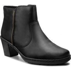 Botki RIEKER - 54962-00 Black. Czarne buty zimowe damskie marki Kazar, ze skóry, na wysokim obcasie, na sznurówki. W wyprzedaży za 179,00 zł.