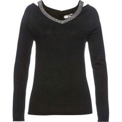 Sweter ze sztrasami bonprix czarny. Czarne swetry klasyczne damskie bonprix. Za 119,99 zł.