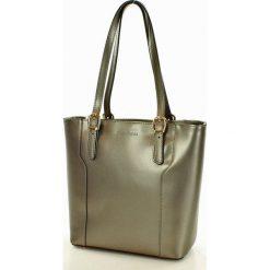Shopper bag damskie: Torebka na ramię skórzana MARCO MAZZINI metaliczny gun