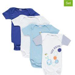Body niemowlęce: Body (4 szt.) w kolorze niebieskim i białym