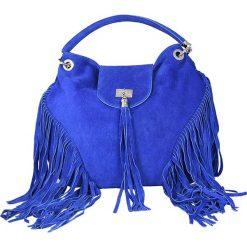 Torebki klasyczne damskie: Skórzana torebka w kolorze niebieskim – 32 x 36 x 13 cm