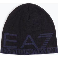 EA7 Emporio Armani - Dwustronna czapka męska, niebieski. Niebieskie czapki męskie EA7 Emporio Armani, z napisami, z dzianiny, eleganckie. Za 249,95 zł.