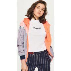 Odzież sportowa damska: Sportowa kurtka z połyskującymi panelami - Jasny szary