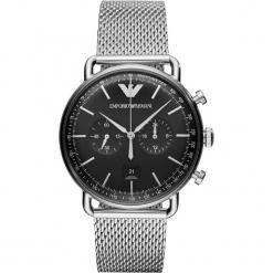 Zegarek EMPORIO ARMANI - Aviator AR11104 Silver. Szare zegarki męskie marki Emporio Armani, l, z nadrukiem, z bawełny, z okrągłym kołnierzem. Za 1590,00 zł.