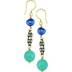 Kolczyki damskie: Pozłacane kolczyki z perłami i howlitami