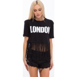 Czarny t-shirt z frędzlami 21592. Czarne t-shirty damskie Fasardi, l. Za 39,00 zł.