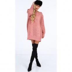 Pudrowy długi sweter oversize 0207. Szare swetry oversize damskie Fasardi. Za 89,00 zł.