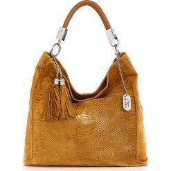 Torebki klasyczne damskie: Skórzana torebka w kolorze jasnobrązowym - 38 x 36 x 14 cm