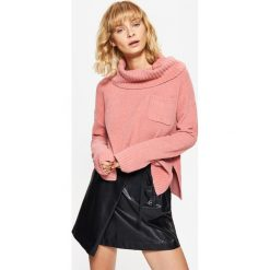 Golfy damskie: Sweter z odwijanym golfem – Różowy