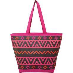 """Torba plażowa """"Ethnique"""" w kolorze różowo-czarnym - 35 x 58 x 23 cm. Czarne torby plażowe Le Comptoir de la Plage, z tworzywa sztucznego. W wyprzedaży za 38,95 zł."""