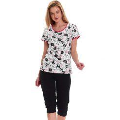 Piżamy damskie: Piżama w kolorze czarno-białym - t-shirt, spodnie