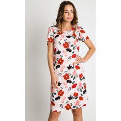 Prosta sukienka w kwiaty BIALCON. Szare sukienki balowe BIALCON, do pracy, na lato, w kolorowe wzory, z tkaniny, z krótkim rękawem, mini, proste. Za 319,00 zł.