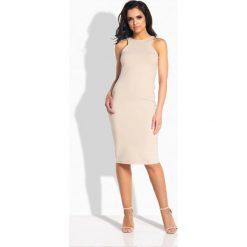 Sukienki: Seksowna dopasowana sukienka bez rękawów beżowy