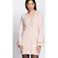 Kremowa Sukienka Burnish. Białe sukienki dzianinowe Born2be, m, z długim rękawem, mini, dopasowane. Za 89,99 zł.