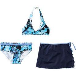 Odzież dziecięca: Bikini+spódniczka dziewczęce (3 cz.) bonprix niebiesko-biały batikowy