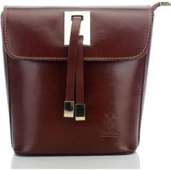 Kuferki damskie: Włoska elegancka skórzana torebka kuferek LAWRENCE brązowa