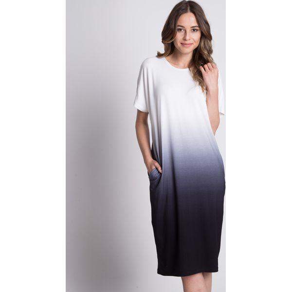 931c0825fdbe29 Dzianinowa długa sukienka z kieszeniami BIALCON - Szare sukienki ...