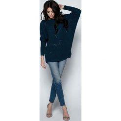 Swetry oversize damskie: Granatowy Sweter Lekki Ażurowy Nietoperz