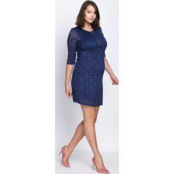 Granatowa Sukienka Believe In Yourself. Szare sukienki na komunię marki Born2be, z koronki, z okrągłym kołnierzem, midi. Za 49,99 zł.