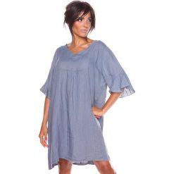 """Sukienki hiszpanki: Lniana sukienka """"Louna"""" w kolorze szarym"""