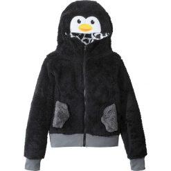 Bluzy dziewczęce rozpinane: Bluza z polaru z motywem zwierzątka bonprix czarny Pingwin