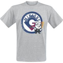 Minions Logo T-Shirt odcienie jasnoszarego. Szare t-shirty męskie z nadrukiem Minions, s, z okrągłym kołnierzem. Za 32,90 zł.