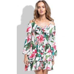 Sukienka hiszpanka i264. Szare sukienki hiszpanki marki Molly.pl, l, w koronkowe wzory, z koronki, eleganckie, z dekoltem typu hiszpanka, z krótkim rękawem, midi, dopasowane. Za 159,00 zł.