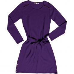 Sukienka kasmzirowa w kolorze fioletowym. Fioletowe sukienki na komunię Ateliers de la Maille, na imprezę, z aplikacjami, z kaszmiru, z okrągłym kołnierzem, midi. W wyprzedaży za 545,95 zł.