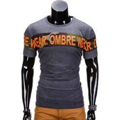 T-SHIRT MĘSKI Z NADRUKIEM S842 - GRAFITOWY. Szare t-shirty męskie z nadrukiem Ombre Clothing, m. Za 29,00 zł.