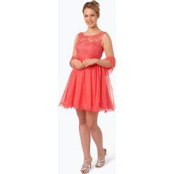 Luxuar Fashion - Elegancka sukienka damska z etolą, czerwony. Czerwone sukienki balowe Luxuar Fashion, l, w koronkowe wzory, z koronki, z krótkim rękawem, mini. Za 749,95 zł.