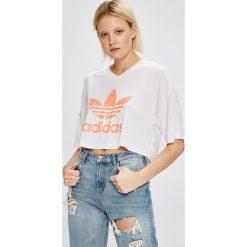 Adidas Originals - Top. Szare topy damskie adidas Originals, z nadrukiem, z dzianiny, z okrągłym kołnierzem. W wyprzedaży za 119,90 zł.