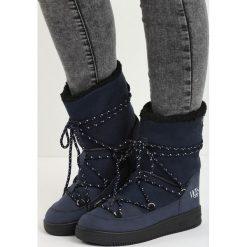 Granatowe Śniegowce Moonlight Dance. Czarne buty zimowe damskie Born2be, z materiału. Za 89,99 zł.