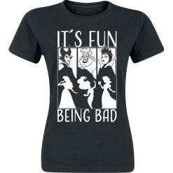 Disney Villains It´s Fun Being Bad Koszulka damska czarny. Czarne bluzki asymetryczne Disney Villains, l, z motywem z bajki, z okrągłym kołnierzem. Za 74,90 zł.