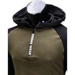 BLUZA MĘSKA Z KAPTUREM B675 - KHAKI. Brązowe bluzy męskie rozpinane Ombre Clothing, m, z kapturem. Za 49,00 zł.