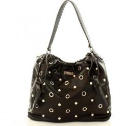 Eva Minge Femestage Stylowa torebka worek eyelts czarny. Czarne torebki worki Eva Minge, w paski, ze skóry, zdobione. Za 169,00 zł.