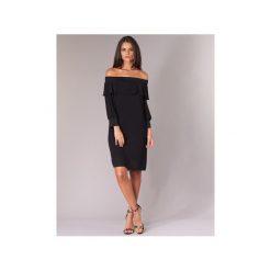 Sukienki krótkie Sisley  PLOUNU. Czarne sukienki hiszpanki Sisley, z krótkim rękawem, mini. Za 383,20 zł.