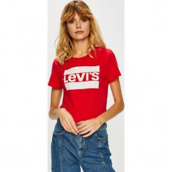 Levi's - Top. Brązowe topy damskie Levi's®, m, z nadrukiem, z bawełny, z okrągłym kołnierzem. Za 99,90 zł.
