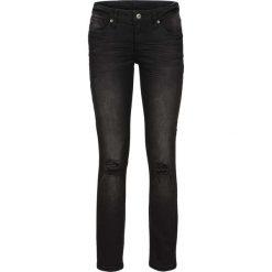 Dżinsy SKINNY z ozdobnymi przetarciami bonprix czarny denim. Czarne jeansy damskie bonprix, z denimu. Za 54,99 zł.